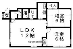 グローバルソフィール16号館 2階2LDKの間取り