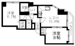 札幌市営東豊線 福住駅 徒歩19分の賃貸マンション 7階2LDKの間取り
