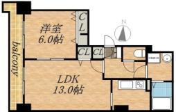 ティアラタワー中島倶楽部(I-IV) 6階1LDKの間取り