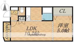 札幌市電2系統 山鼻19条駅 徒歩4分の賃貸マンション 3階1LDKの間取り
