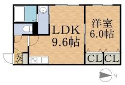 札幌市営南北線 幌平橋駅 徒歩9分の賃貸マンション 2階1LDKの間取り