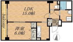 ティアラタワー中島倶楽部(I-IV) 8階1LDKの間取り