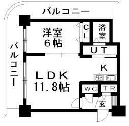 ティアラタワー中島倶楽部(I-IV) 2階1LDKの間取り