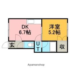 JR函館本線 銭函駅 バス9分 桂岡下車 徒歩6分の賃貸アパート 2階1DKの間取り