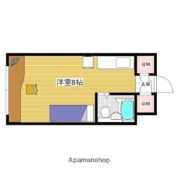 東栄マンション 2階ワンルームの間取り