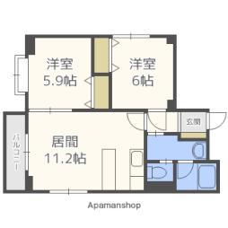 札幌市電2系統 西線16条駅 徒歩7分の賃貸マンション 4階2LDKの間取り