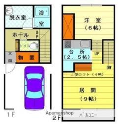 JR石北本線 旭川四条駅 徒歩8分の賃貸アパート 1階1LDKの間取り