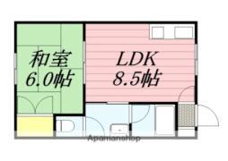 コープサイド亀田本町II 1階1DKの間取り