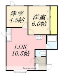 サンライフ亀田港I 2階2LDKの間取り