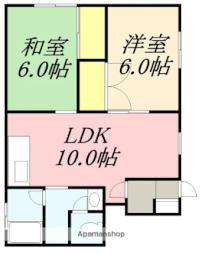 ハイツMII 2階2LDKの間取り