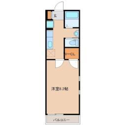 仙台市営南北線 富沢駅 徒歩13分の賃貸アパート 1階1Kの間取り