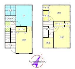 JR奥羽本線 横手駅 徒歩16分の賃貸一戸建て 1階3DKの間取り