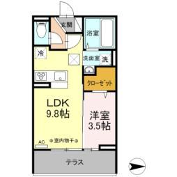 JR東北新幹線 郡山駅 バス20分 小原田五丁目下車 徒歩4分の賃貸アパート 1階1LDKの間取り