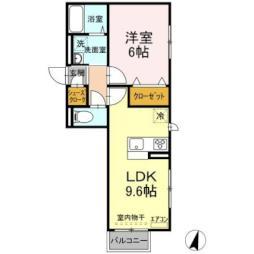 JR常磐線 ひたち野うしく駅 7.8kmの賃貸アパート 1階1LDKの間取り