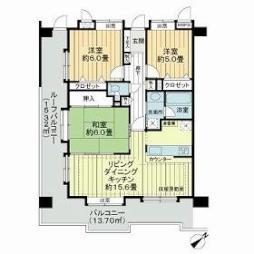 ライオンズマンション渋谷シティ 8階3LDKの間取り