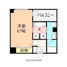 JR越後線 白山駅 徒歩23分の賃貸マンション 3階1Kの間取り