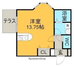 名鉄小牧線 田県神社前駅 徒歩6分の賃貸アパート 2階ワンルームの間取り