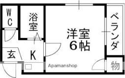 京阪本線 滝井駅 徒歩1分の賃貸マンション 4階1Kの間取り