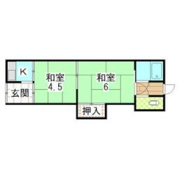 村田大庭町連棟貸家 9 1階2Kの間取り