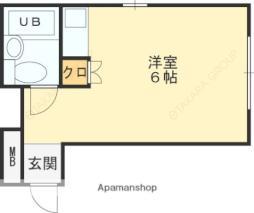 近鉄南大阪線 高見ノ里駅 徒歩5分の賃貸マンション 2階ワンルームの間取り