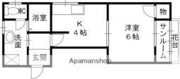 京阪本線 西三荘駅 徒歩16分の賃貸マンション 2階1Kの間取り
