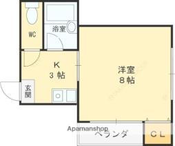 京阪本線 土居駅 徒歩8分の賃貸マンション 4階1Kの間取り