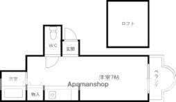 JR東海道・山陽本線 摂津富田駅 バス15分 奈佐原下車 徒歩5分の賃貸アパート 3階ワンルームの間取り