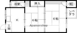 京阪本線 土居駅 徒歩6分の賃貸マンション 3階2Kの間取り