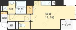 Osaka Metro四つ橋線 西梅田駅 徒歩4分の賃貸マンション 2階ワンルームの間取り