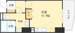 Osaka Metro四つ橋線 西梅田駅 徒歩4分の賃貸マンション 12階ワンルームの間取り