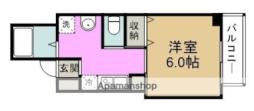 みおつくし堂島II 7階1Kの間取り