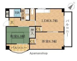 Osaka Metro中央線 大阪港駅 徒歩2分の賃貸マンション 7階2LDKの間取り