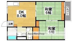 南海高野線 北野田駅 徒歩7分の賃貸アパート 2階2DKの間取り