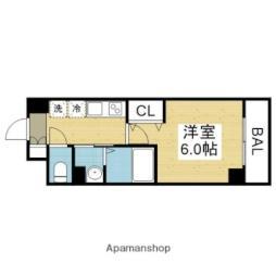 近鉄難波線 今里駅 徒歩11分の賃貸マンション 8階1Kの間取り