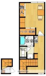 近鉄奈良線 大和西大寺駅 徒歩21分の賃貸アパート 2階1Kの間取り