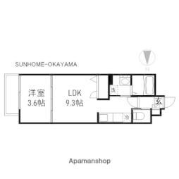 月光 岡山昭和町壱番館 3階1LDKの間取り