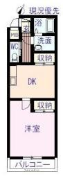 ルッカ高須 3階1DKの間取り