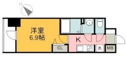 広島電鉄1系統 市役所前駅 徒歩7分の賃貸マンション 14階1Kの間取り