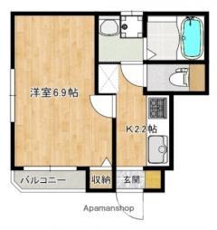 広島電鉄6系統 舟入幸町駅 徒歩13分の賃貸アパート 1階1Kの間取り