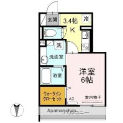 伊予鉄道市駅線 勝山町駅 徒歩3分の賃貸アパート 2階1Kの間取り