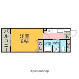 西鉄天神大牟田線 大保駅 徒歩4分の賃貸マンション 2階1Kの間取り