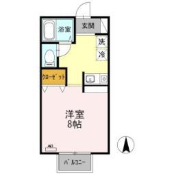 バス 山崎台入り口下車 徒歩2分の賃貸アパート 1階1Kの間取り