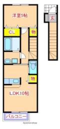 JR日豊本線 隼人駅 徒歩17分の賃貸アパート 2階1LDKの間取り