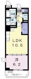 フリシュアイリス 3階1LDKの間取り