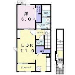 プリムヴェール I 2階1LDKの間取り