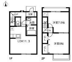 仮)小美玉市東田中MPII 1階2LDKの間取り