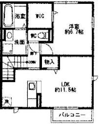 仮)大角豆D-Room 2階1LDKの間取り
