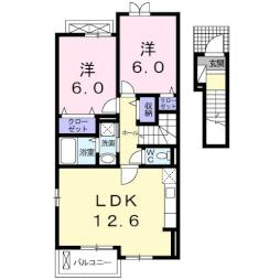 LALA ハウス 2階2LDKの間取り