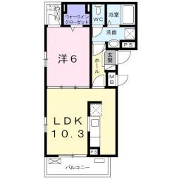 フィオーレ・タチバナC 3階1LDKの間取り