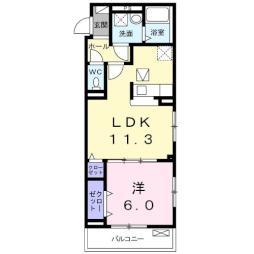 大室3丁目アパート(024617201) 1階1LDKの間取り